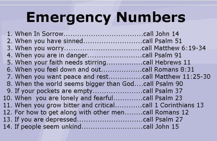 Emergency Bible Numbers